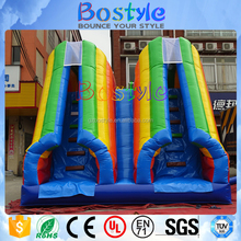 Rainbow double lane backyard small inflatable water slide for children garden