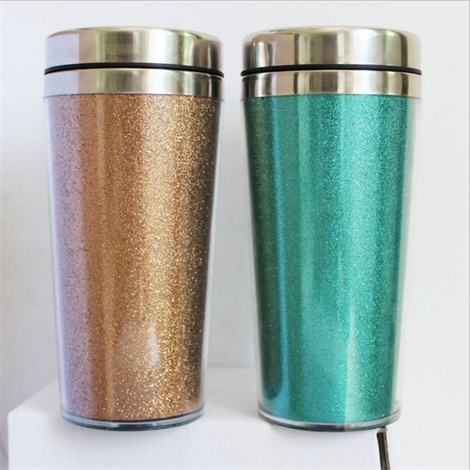 Wholesale Double Wall Stainless Steel Advertising Coffee Mug With Glitter Paper Insert