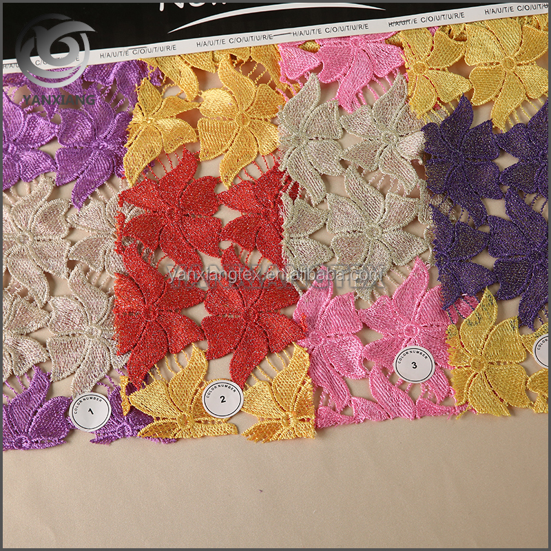 High-end Fashion Multi-Color Custom Chemical Fancy Embroidery Lace Fabric