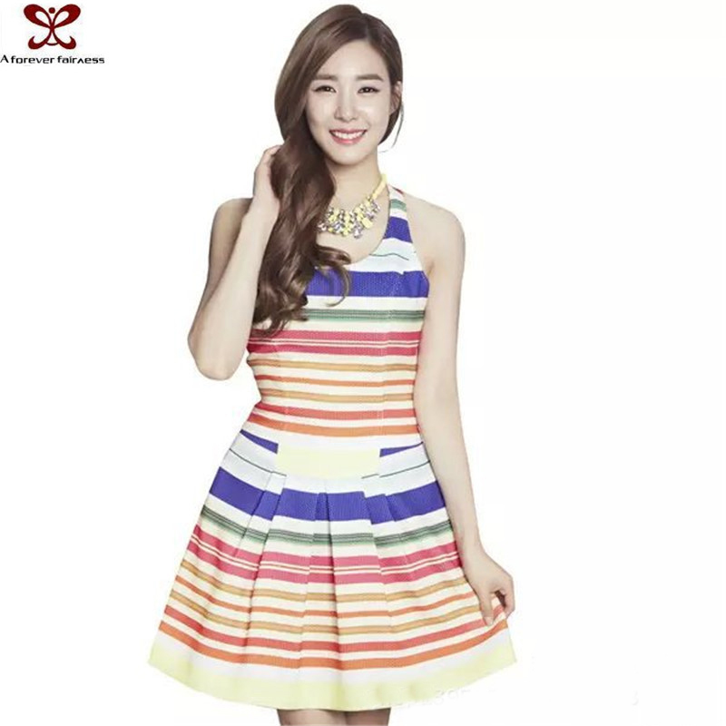 2016 Spring Summer Fashion Rainbow Bandage Ghana Dress Styles