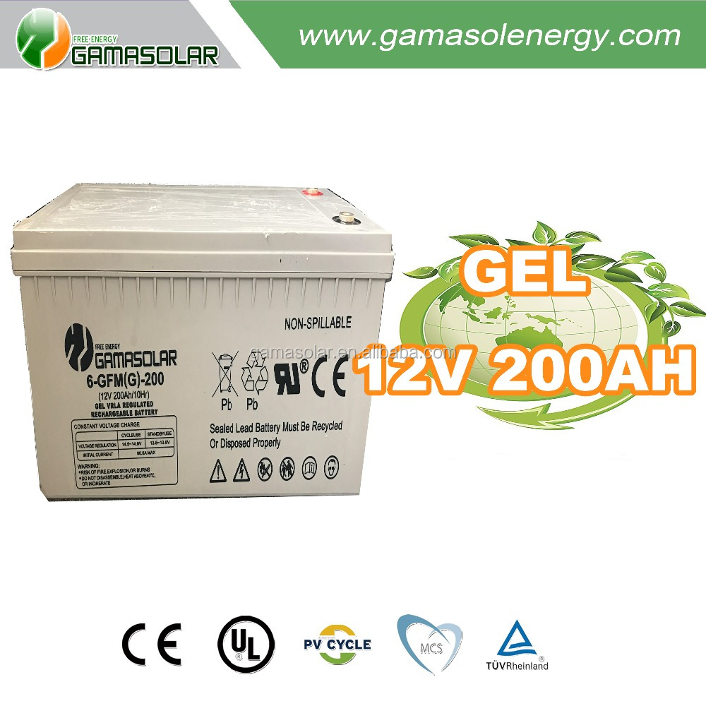 Gama Solar storage system 12v 200ah gel power deep cycle battery