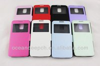 view window flip cover for galaxy s5 cover i9600 guangzhou pu high quality case