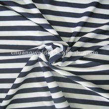 Polyester spandex navy striped jersey knit fabric black and white