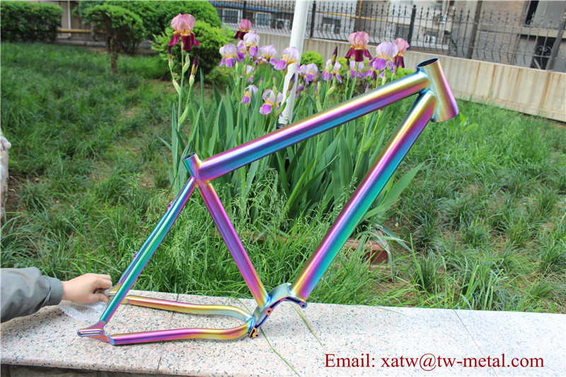 XACD made titanium MTB bike frame with taper head tube ti mountain bike frame with sliding dropout rainbow bike frame