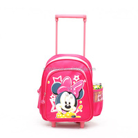 Pink Cartoon Pictures School Trolley Bag For Children