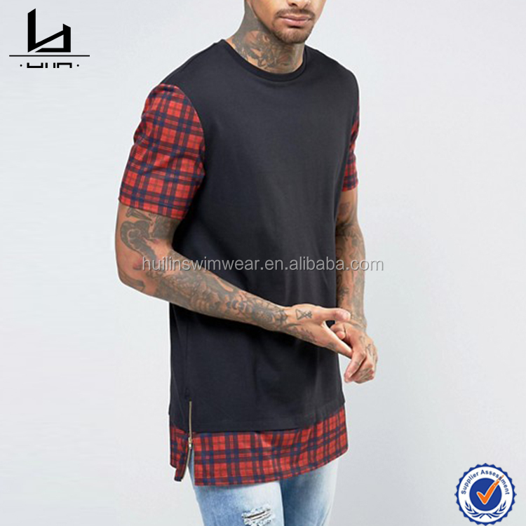 New Design check sleeves and hem extender longline side zips tshirt mens urban silhouette clothing