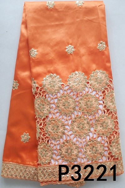 African Latest Design Orange Color Silk George Lace Fabrics with sequence