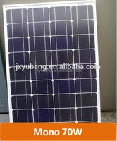 Grade A quality High Efficiency YB125M36-70W 70 Watt 12V mono crystalline solar pv panel photovoltaic for 12V battery charge