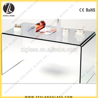 Bent curved tempered glass coffee table