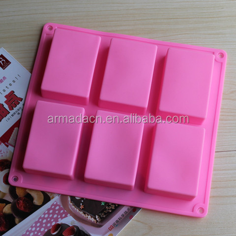 6 cavities handmade rectangle shape silicone soap <strong>molds</strong>
