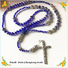 Newest style 8mm AB coated blingbling shamballa rhinestone crystal rosary with rosary crucifix special offer