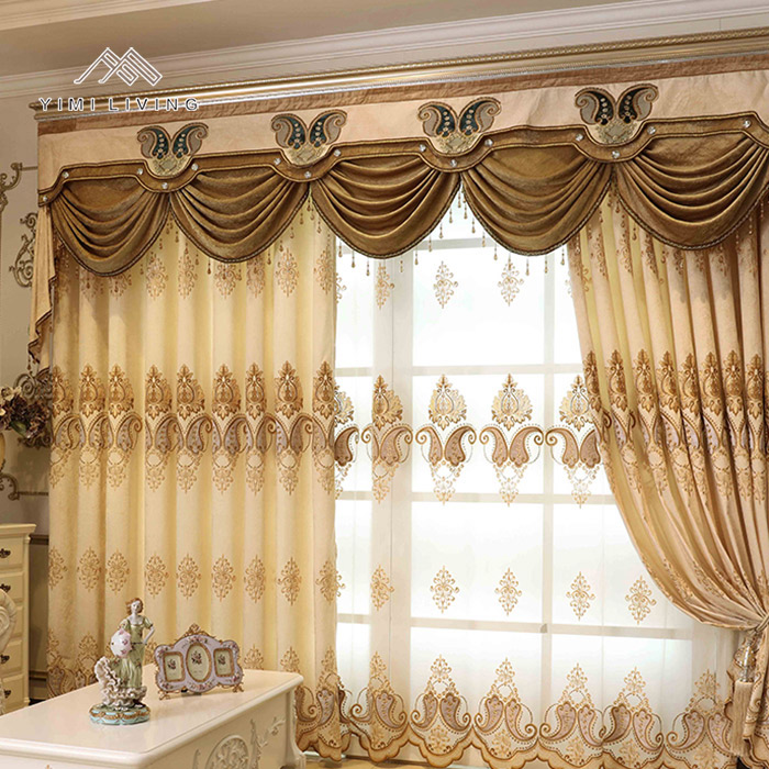 Different kinds of best price of elegant sunshade european curtain and drapes