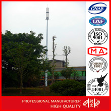 Q345 galvanized steel tubular monopole telecom tower for signal transmission