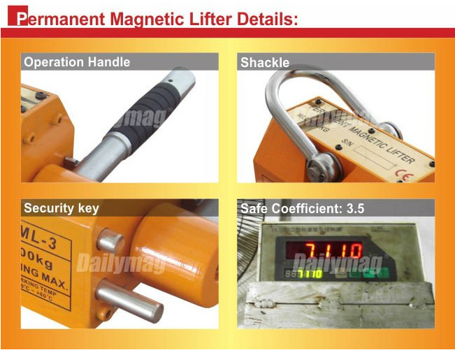 Steel Magnetic Lifter 1320 LB Metal Lifting Magnet 600 KG Neodymium Magnetic Lift Hoist Shop Crane