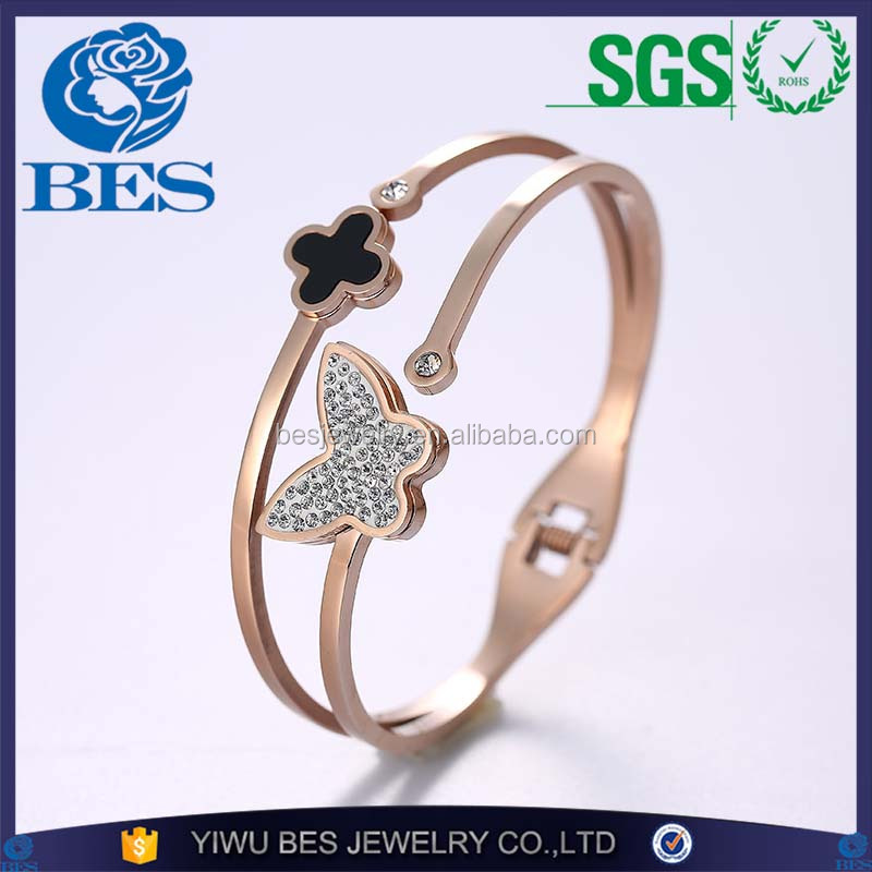 Butterfly Charm Factory Directly Wholesale OEM Four Leaf Clover Rose Stainless Steel Bangle Bracelet