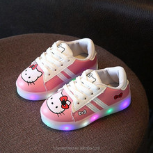 2017 hello kitty kids shoes led light up shoes