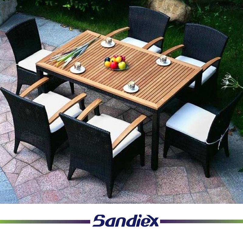 Teak Wood Patio Furniture Garden Outdoor Dining Coffee Table Set with Plastic Wood Armrest Chair
