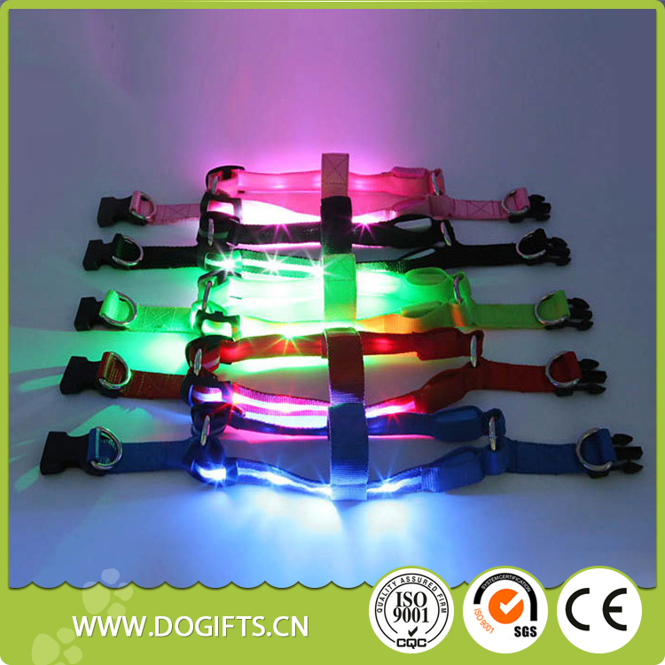 Light up Color Small Dog Pet Puppy Cat Adjustable Nylon Harness with Lead Led small dog harness and lead