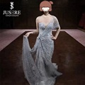 Silver Handmade Pearl Mermaid Evening Dress