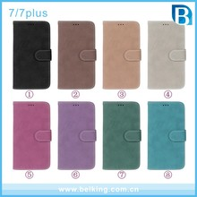 Luxury Retro Matte Leather Flip Phone Case Cover Built-in Card Slot Protector Shell Bag for iphone 7 7 plus