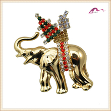 Christmas elephant rhinestone brooch,fashion gold alloy crystal jewerly brooch accessory
