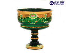 0965Y green crystal candy bowl glass stem fruit bowl Heraeus gold color box classic arabice style glass fruit bowl manufacturer
