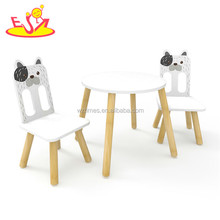 High quality preschool cartoon dog painted children wooden table and chair set with best price W08G234