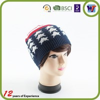 Outdoor 100% acrylic jacquard winter hat ski pom pom hat with stars