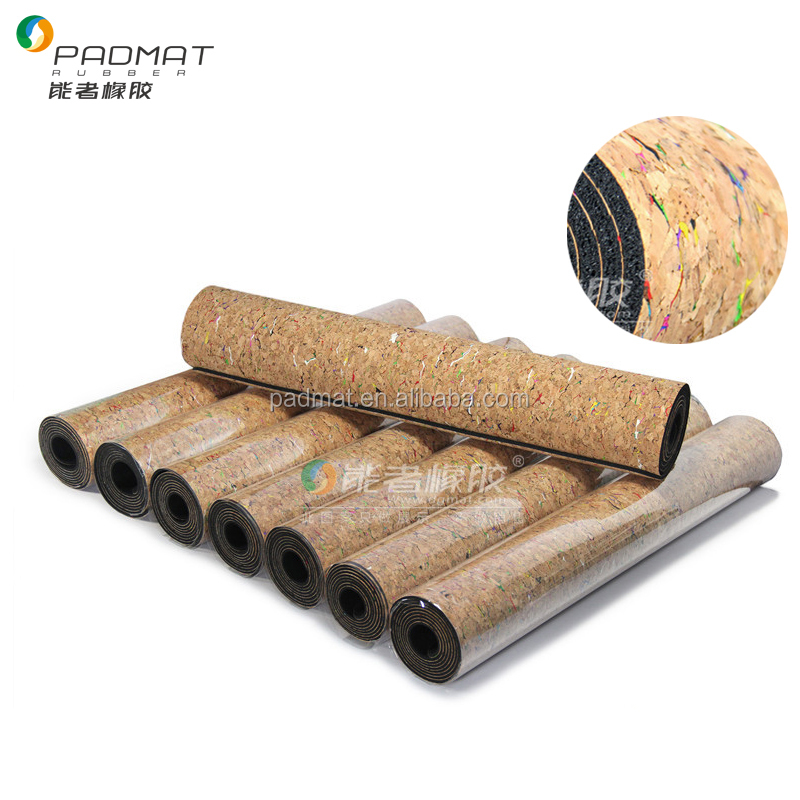 The most <strong>ECO</strong> and grip colorful cork surface natual rubber bottom yoga mat