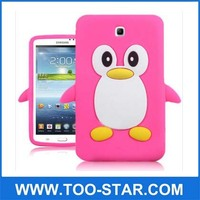 "3D Cute Penguin Soft Gel Silicone Rubber Back Case Cover For Samsung Galaxy Tab 3 7.0"" Tablet P3200/P3210"
