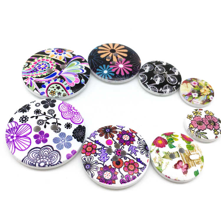 DIY clothing accessories colourful floral printed 2 holes 4 holes wooden button