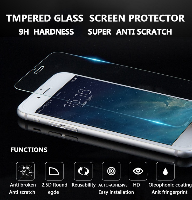 Anti-fingerprint Premium Real Tempered Glass Phone Screen Protector Film 9H For iPhone4 4s 5 5s 6 6s