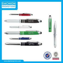 Promotional Executive 3 in 1 Metal Pen Stylus with LED/stylus pen with highlighter/unique stylus pens
