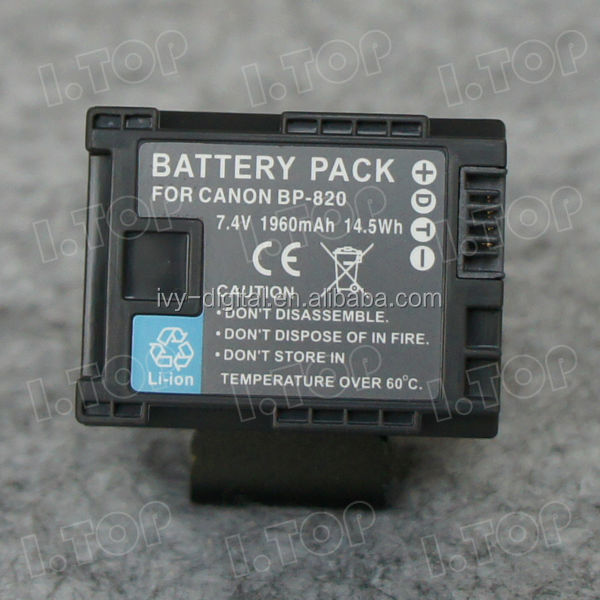 Top quality camera battery pack for Canon BP-820 batteries