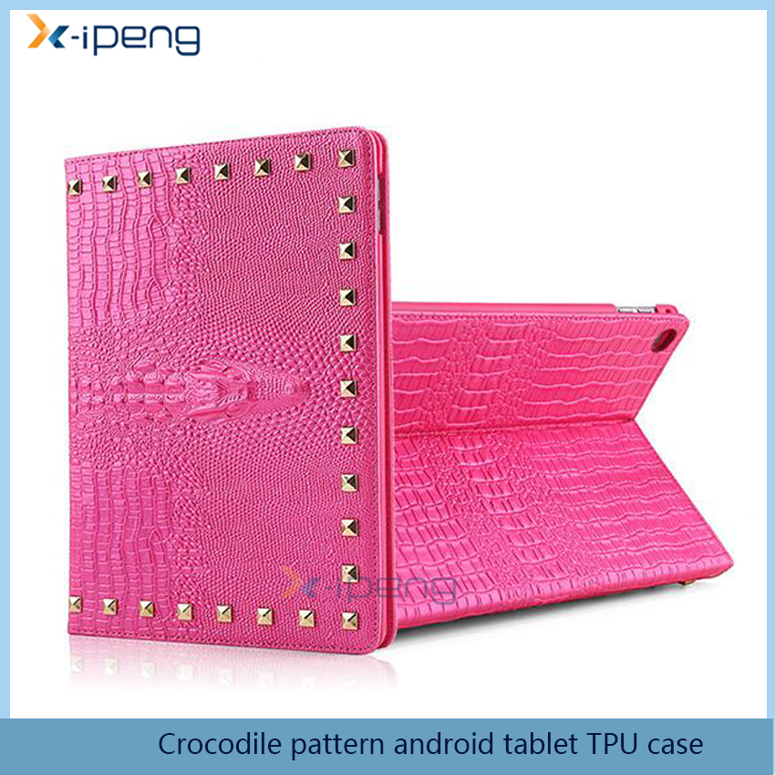 Hot sale crocodile Pattern android tablet TPU 15 inch flip leather case for ipad