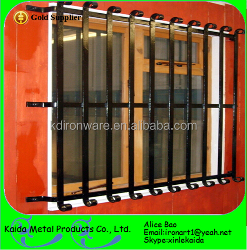 Customized modern decorative wrought iron window grill for Modern zen window grills design