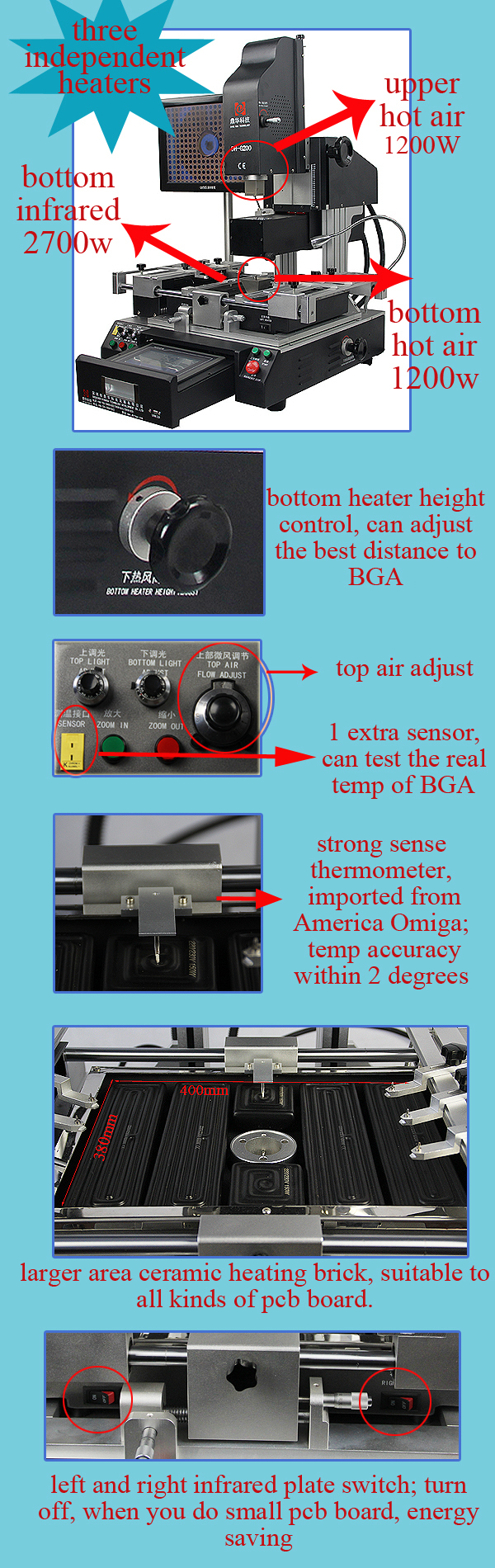 Dinghua DH-G200 optical BGA rework station with precise alignment and accuracy temperature