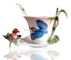 GRS ceramic crafts bird emboosed cup and saucer with spoon