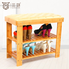 Wood Multifunctional Leather Carved Natural Eco-friendly Shoe Stool And Bench