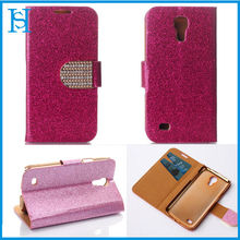 Glitter Fashionable Leather Stand Phone Case for Samsung Galaxy S4 mini With Card Slot