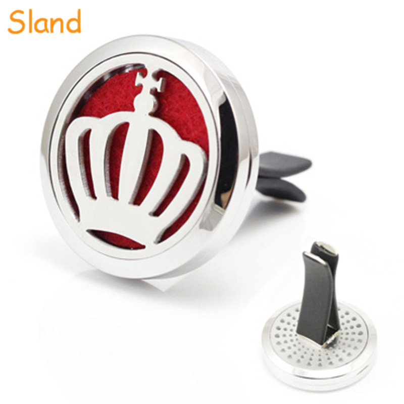 crown design essential oil locket Aromatherapy stainless steel car vent clips air freshener