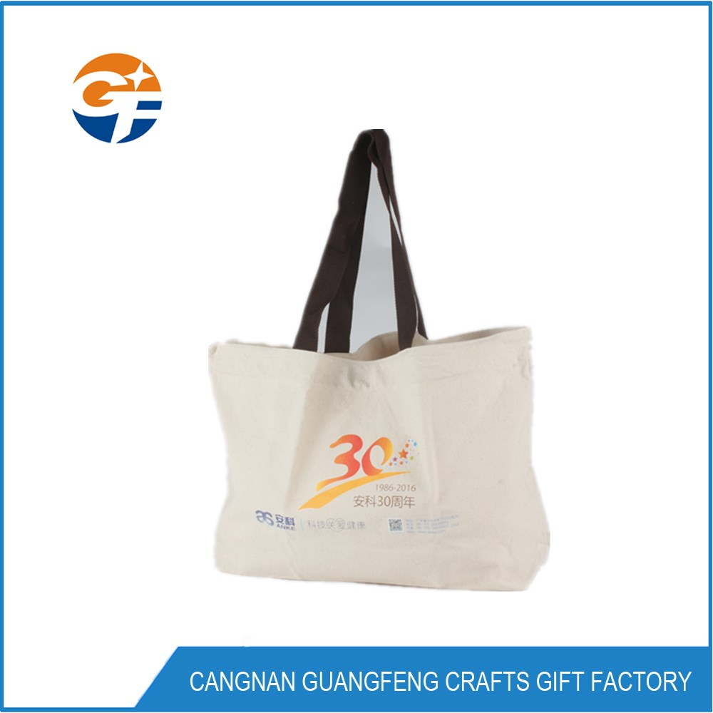10oz cotton canvas tote bag with webbing handle
