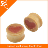 New design Jewelry Wooden Heart laser engraving Flesh Tunnels solid saddle Free Ear Plugs Samples