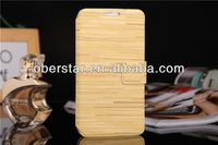 For Samsung Galaxy S5 I9600 Flip Wooden Feel PU Leather Stand Wallet Case Cover