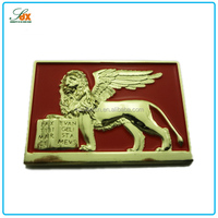 High End Superior Metal Golden Fly Lion Pin Badge