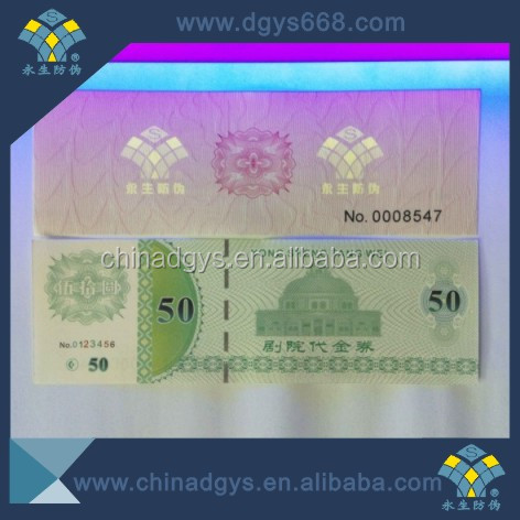 High complicated uv and hologram thread on watermark coupon