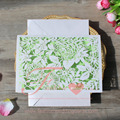 Wholesale Green Floral Laser Cut Wedding Invitations Service
