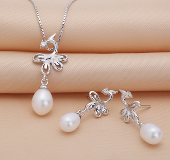2016 New arrival Genuine natural freshwater pearl set Wholesale jewelry for women