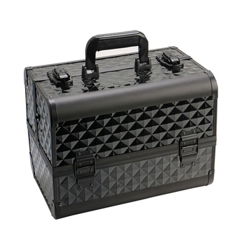 Black ABS makeup train case double open makeup train case