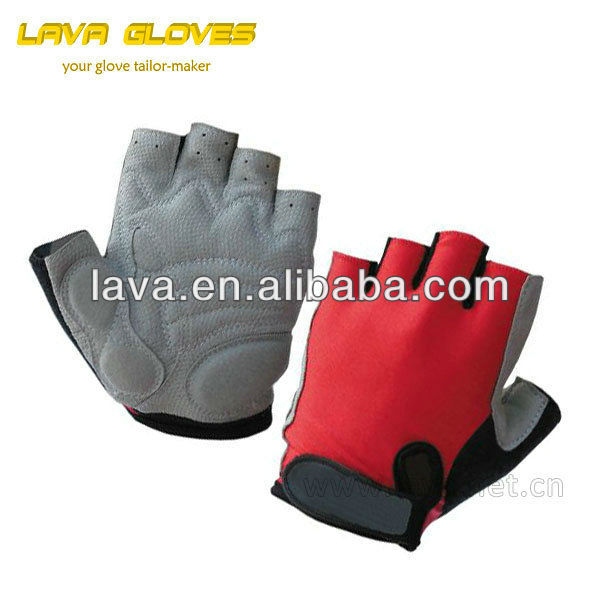 Wholesale Custom Double Summer Fingerless Made Bike Gloves Of Lava